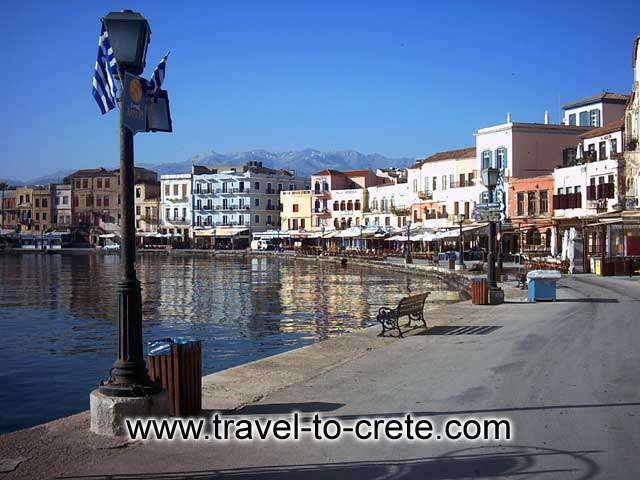 CHANIA TOWN - The port of Chania with the cafe and the restaurants