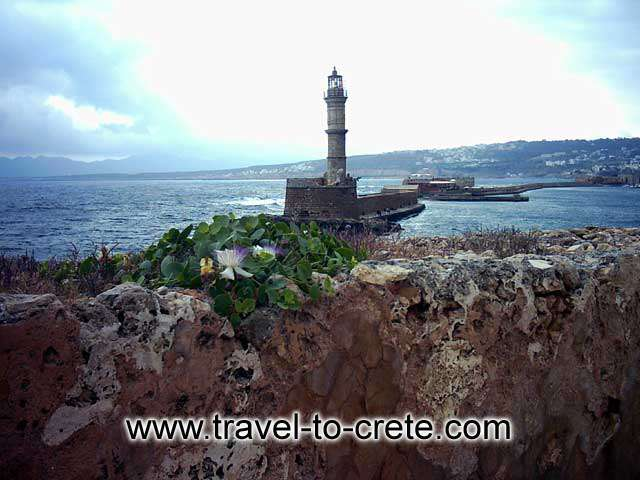 CHANIA TOWN - View of the entrance to the port from Chania castle