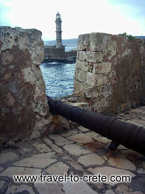 CHANIA TOWN - The castle of Chania at the entrance of the port