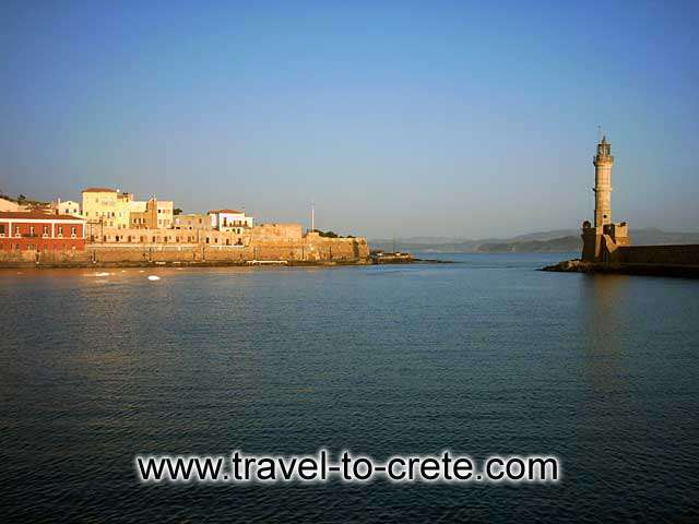 CHANIA TOWN PORT ENTRANCE - The entrance to the port. Hania is built on the site of the ancient city of Kydonia. This site was inhabited from Neolithic times and through all phases of the Minoan Period. Kydonia developed into a very important center of the Minoan civilization