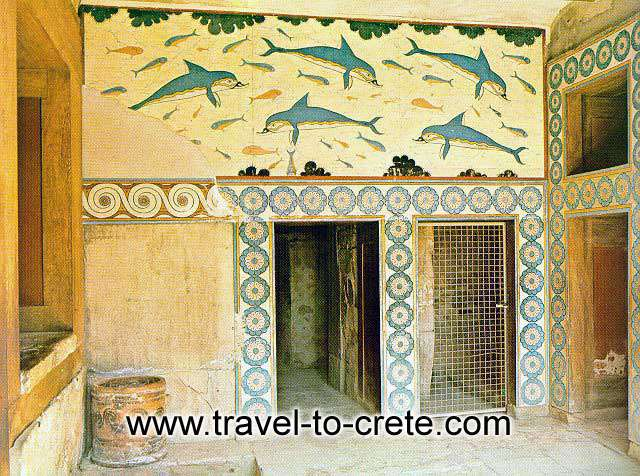 THE DOLPHINS FRESCO - The palace had many storeys, it was built of ashlar blocks and its walls were decorated with splendid frescoes, mostly representing religious ceremonies.