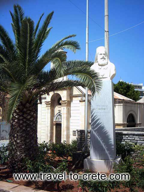 AGIOS MINAS - A statue at the square of Agios Minas in Herakleion