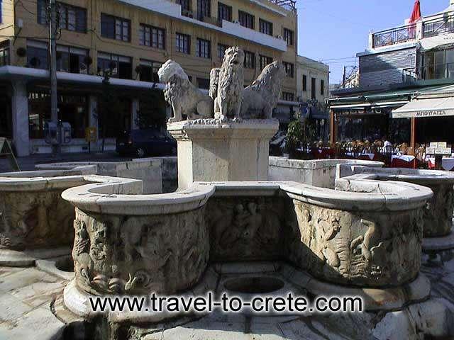 HERAKLION - Morosini's fountain with its four lions