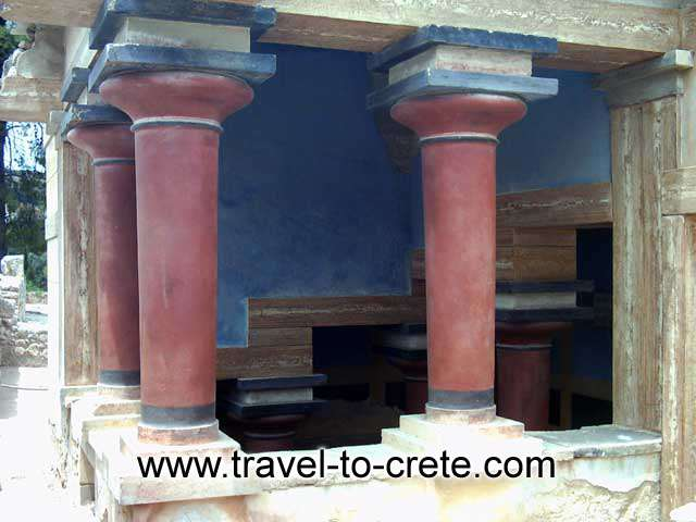 MINOAN COLUMNS - Coloumns on the ground floor of the Palace of Knossos
