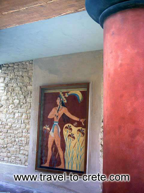 PRINCE FRESCO - Exact reproduction of the fresco of the Prince exhibited at the original location in Knossos