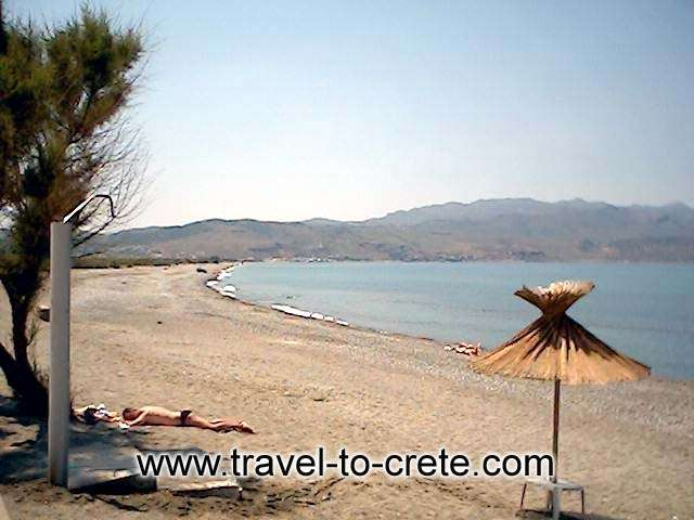 TAVRONITIS BEACH - The beach is an easy short stroll from the village centre. This can be one of the emptiest and quietest beaches in this stretch of coast west of Chania. Tavronitis beach is pebbly and very quiet indeed, a very relaxing place bordered by trees