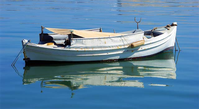 Fishing Boat - A fishing boat in Heraklion port at morning of August 15