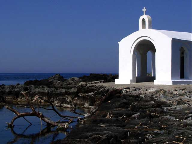 A Chapel - Near the harbour of Georgioupolis (small town in northern Crete) is located the small rocky island with the chapel of St. Nicolas. It is said that St.Nicolas protects the fishermen and gives them strength to do their hard work.