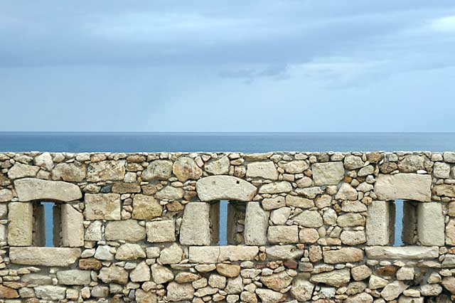 Sea and Wall - A view of the sea from the Venetian fortress.