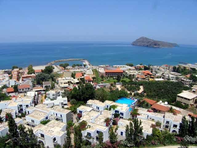 PLATANIAS - The Platanias village and the little island of Theodorou in Hania