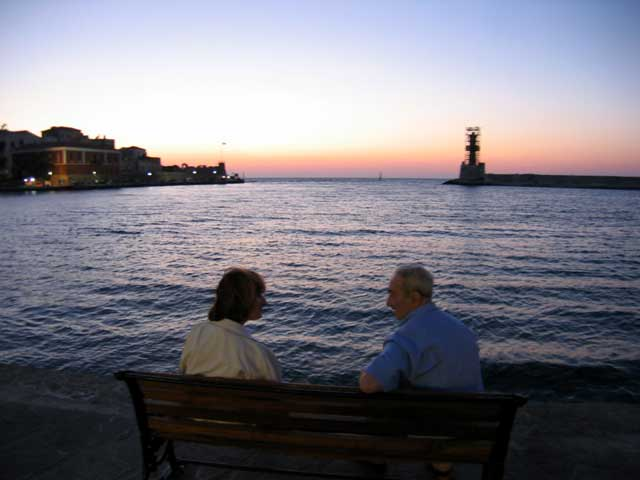 PORTO VENEZIANO - A romantic sunset in old Venetian graphic port of Hania