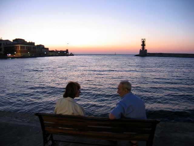 PORTO VENEZIANO - A romantic sunset in old Venetian graphic port of Hania