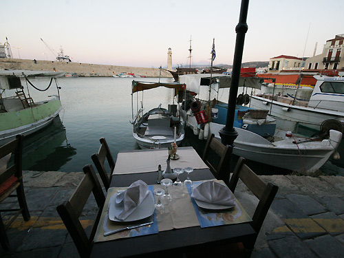 From Erotokritos Tavern - Restaurant you can enjoy the wonderful view of Old Venetian port of Rethymno CLICK TO ENLARGE