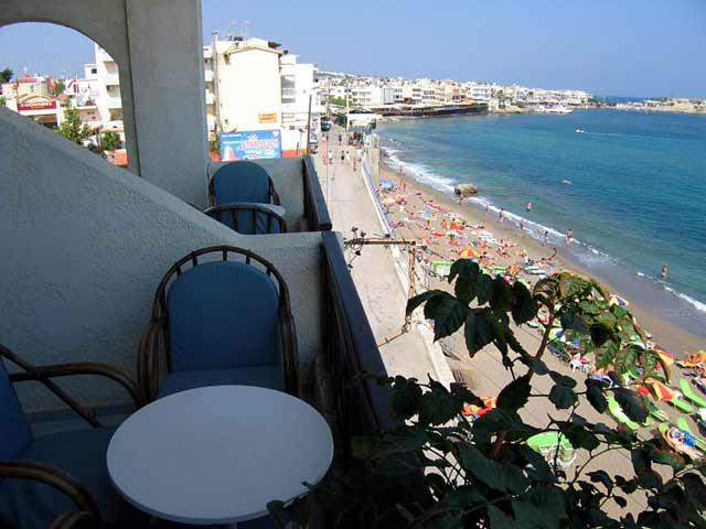 From the room balcony of Flisvos Hotel you can enjoy the wonderful view of the Limin Hersonissos beach CLICK TO ENLARGE