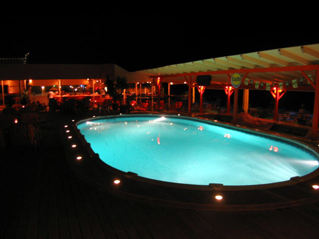 The pool of Rose Cafe - beach bar at the night CLICK TO ENLARGE
