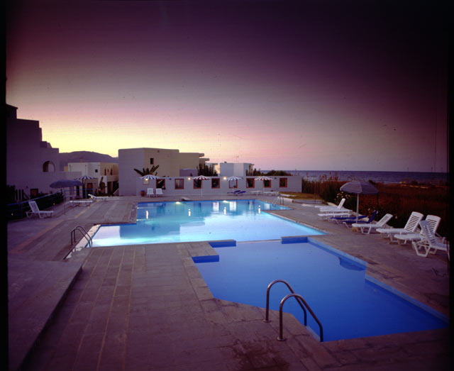 The swimming pool of Eliros Hotel durring the sunsset CLICK TO ENLARGE