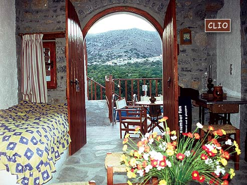 Inside and the balcony with wonderful view of Clio Villa of the traditional Homes of Crete CLICK TO ENLARGE