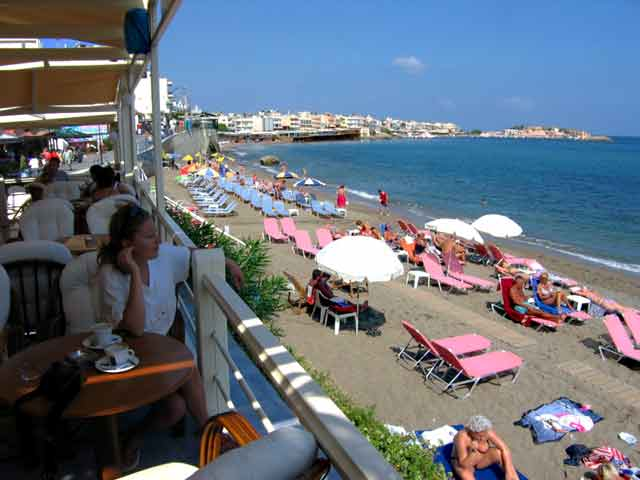 The Restaurant of Flisvos Hotel is next to the beach CLICK TO ENLARGE