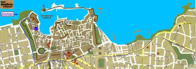 The map how to find Amphora Hotel and  restaurant at old Venetian port of Hania CLICK TO ENLARGE