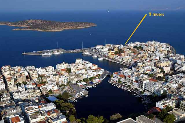 Aerial photo of Agios Nikolaos and the place where is situated the Nine Muses Hotel - Apartments CLICK TO ENLARGE