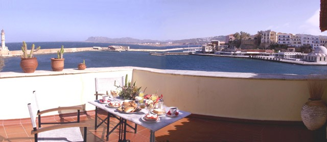 From the roof garden Casa Leone Hotel you can enjoy the wonderful view towards the old graphic Venetian port of Hania - Crete CLICK TO ENLARGE