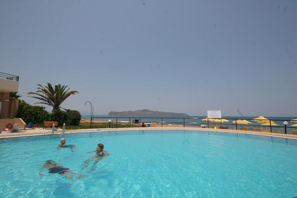 The room balcony of Phaedra Hotel is viewing the swimming  pool and the beach CLICK TO ENLARGE